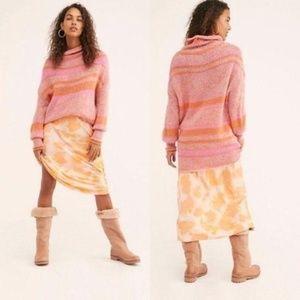 Free People Candy Stripe Tunic Sweater Dress Pink